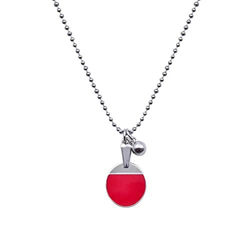 Easuenhub Kreative rot Tisch Tennisschläger Sport Anhänger 19.6inch Edelstahl Tischtennis Halskette Schmuck für Frauen