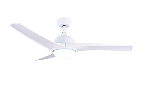Ventilatore da soffitto bianco 132cm. con lampada LED 18W 1500 Lumen colore 2700-4000-6000 K° selezionabili da telecomando - plikc àura