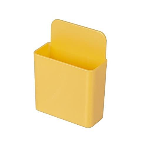 1 Uds caja de almacenamiento multiusos caja de almacenamiento de control remoto montado en la pared soporte de enchufe de teléfono móvil soporte contenedor cuadrado amarillo