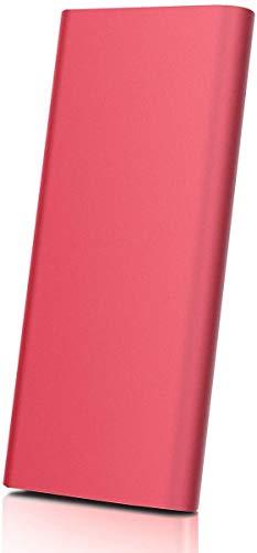 Disco duro externo portátil – Disco duro portátil ultra fino de 2 TB disco duro externo compatible con Mac, ordenador portátil, PC (2TB, Red)