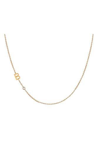 14k Gold Asymmetrical Initial and Bezel Diamond Necklace