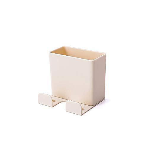 YUDIZWS 2 en 1 soporte de pared para control remoto de teléfono móvil, caja organizadora para aire acondicionado, TV, control remoto, carga de teléfono, color beige