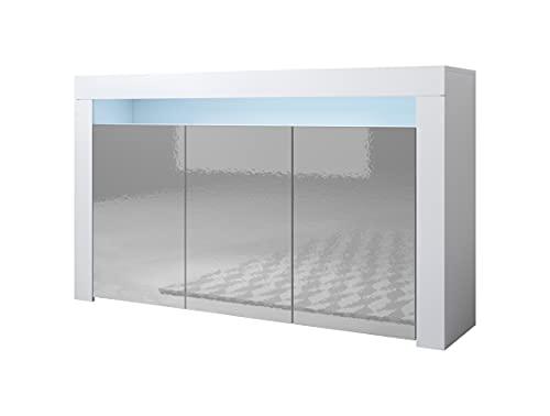 muebles bonitos Aparador Modelo Aker Color Blanco y Gris