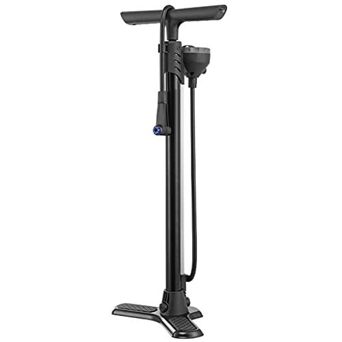 Bombas aire Inflador Bici Bomba Alta Presión Para Bicicleta, Bomba Piso Para El Hogar Con Barómetro Electrónico, Adecuada Para Presta, Válvula Schrader, 160PSI ( Color : Black , Size : 64*3cm )