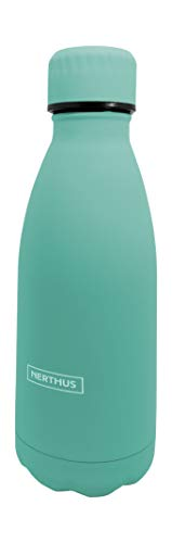 NERTHUS FIH 614 Termo Doble Pared para frios y Calientes Diseño Turquesa de Acero Inoxidable 350 ml Libre de BPA, Tapon Hermético, 18/8