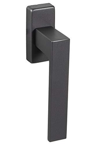 Aluminium Fenstergriff Anthrazit schwarz Fensterolive auf Oval-Rosette | Drehkipp-Rasterolive ohne Schließzylinder | PUSH 1317 | Griff Alu schwarz matt | 1 Stück - Fensterbeschlag eckig für Fenster