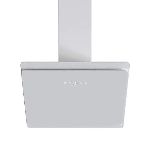 VLANO EEK A+ Kopffreie Dunstabzugshaube Glas Design/Touch Control/ECO LED/Extra leiser Brushless Motor/Abluft/Umluft (MIRA 60 cm mit Aktivkohlefilter Set, weiß)
