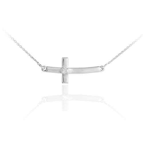 14 ct White Gold Sideways Small Curved Diamond Cross Pendant Necklace Necklace (Available Chain Length 16'- 18'- 20'- 22') B