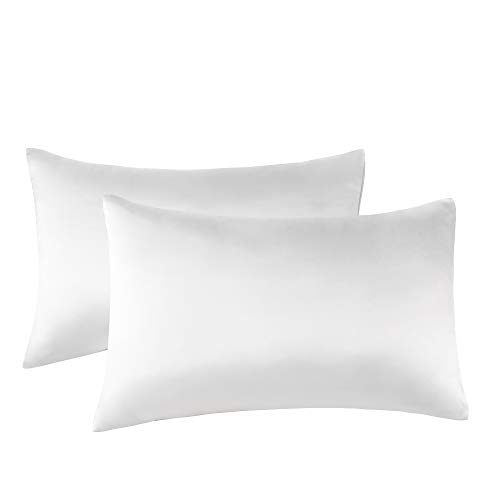 Funda de Almohada Seda 2 Piezas , 19 Momme - 100% Seda de Morera Doble Lado - Cierre de sobre Suave Antiarrugas y Resistentes a Las Manchas, hipoalergénico, (50x100cm), Blanco