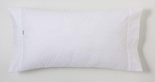ESTELA - Funda de Almohada Combi Liso Cala Color Blanco - 1 Pieza de 45x125 cm - 100% Algodón - 144 Hilos