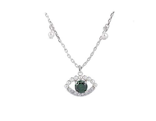 ZXH Neue Legierung natürliche Perlenkette Teufel Swarovski-Kristall-Elemente der romantischen Frau Auge Halskette Mode Halskette Schlüsselbein mit