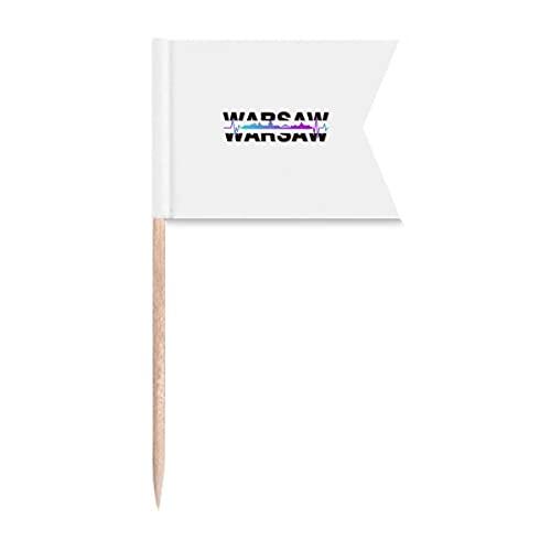 Urban Wave Warschau Architektur Zahnstocher Flaggen Markierung für Party Kuchen Lebensmittel Käseplatte