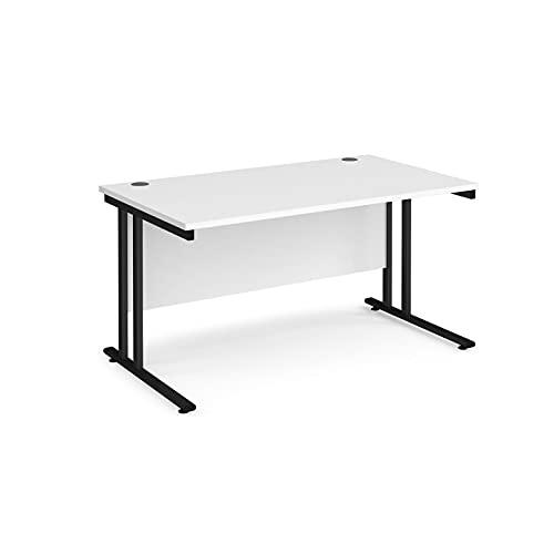 Maestro 25 - Escritorio rectangular (800 mm de profundidad, con patas voladizas, color blanco, 140 cm)