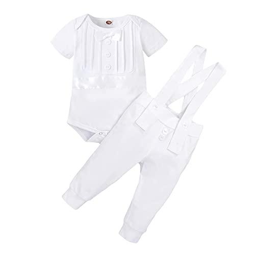FYMNSI Traje de bautizo para bebé, traje de bautismo, traje de boda, traje de hombre, esmoquin, traje de algodón, tirantes y pantalones, 2 piezas, Color blanco., 18-24 Meses
