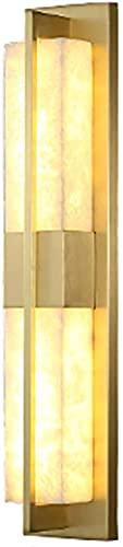 GQQ Lámpara de pared de cobre de mármol largo, luz de pared LED, iluminación de pared interior, aplique de pared, dormitorio, sala de estar, pasillo, decoración de la habitación