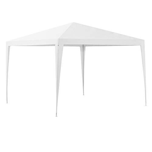 [casa.pro] Carpa Pabellón para Jardín 300 x 300 x 255cm Quiosco Gazebo Cenador de jardín Estructura de Metal Plegable Blanco