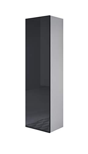 muebles bonitos Vitrina Luke V4 (40x165cm) Color Blanco y Negro