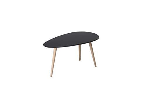 Ibbe Design Oval Rund Schwarz Couchtisch Modern Skandinavisch Retro Kaffeetisch Beistelltisch MDF Fly, Natur Massiv Buche Holz Beine, 75x43x39 cm
