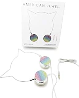 Kitty Cat Ear Headphones - Wire Frame Headset with Volume Control and Microphone - Silver & Rainbow