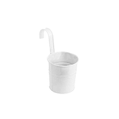 Pot de Fleur Suspendu Métallique Décoration pour Maison Jardin Balcon - Blanc