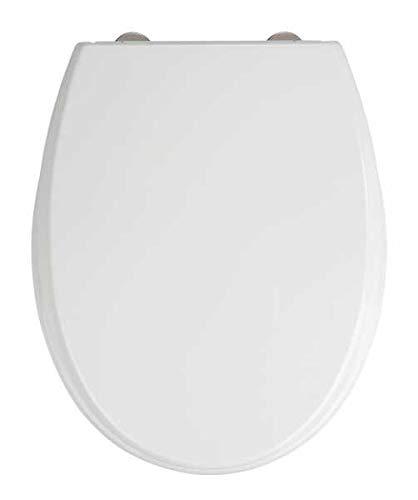 WENKO WC-Sitz Furlo - Antibakterieller Toiletten-Sitz mit Absenkautomatik, rostfreie Fix-Clip Hygiene Edelstahlbefestigung, Duroplast, 35 x 43.5 cm, Weiß