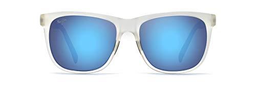 Maui Jim Tail Slide w/Patented PolarizedPlus2 Lenses Square Sunglasses, Frosted Crystal/Blue Hawaii Polarized, Medium + 0