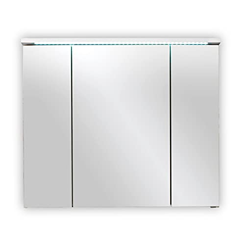 SPLASH Spiegelschrank Bad mit LED-Beleuchtung in Weiß Hochglanz - Badezimmerspiegel Schrank mit viel Stauraum - 80 x 68 x 23 cm (B/H/T)