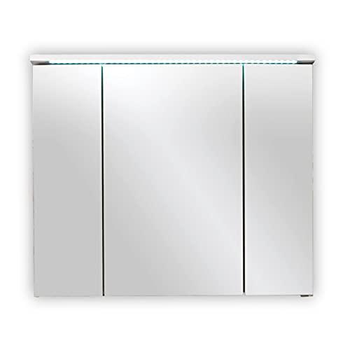 Stella Trading Splash-Armario con Espejo para baño con iluminación LED en Color Blanco Brillante, Madera, 80 x 68 x 23 cm
