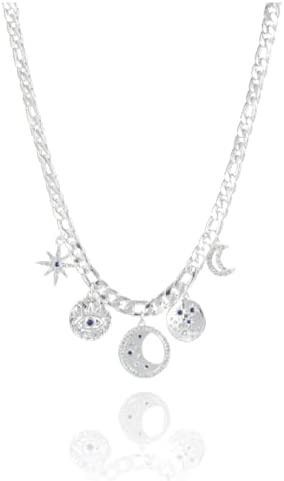Boho Sliver Necklace for Women Girl Teens with Long Chains Stars Moon Evil Eye Sparkling Zircon Jewellery Pendant Set, Wedding Gift for Bridesmaid with Box