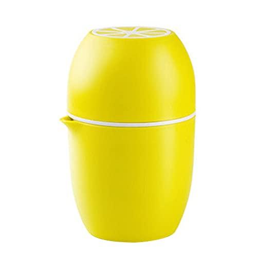 Mopoin Exprimidor de naranja, exprimidor manual de naranjas, exprimidor de cítricos con recipiente, sin BPA, forma de limón, amarillo limón