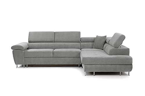 Honeypot - Sofa - Anton - Storage - sofa bed - Black/grey - White/grey - All grey - Faux leather/fabric (All Grey, Right hand corner)