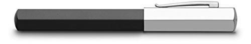 Faber-Castell Ondoro - Pluma estilográfica con cuerpo en resina con forma hexagonal, plumín de acero inoxidable trazo F, color negro