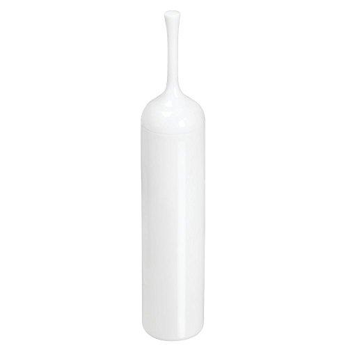 mDesign Toilettenbürste mit schlichtem Design – Toilettenbürstenhalter mit besonders schmalen Maßen – WC Bürste aus Kunststoff mit hygienischem Deckel – weiß