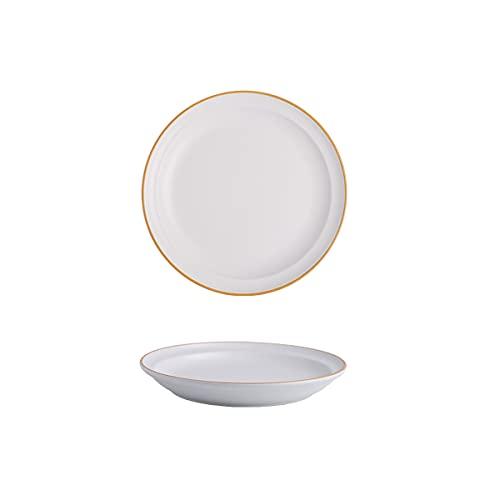 DSFHKUYB Cuenco de cerámica para Pasta, Cuenco de Porcelana para Servir, Juego de 2 Cuencos de Sopa Poco Profundos, Juego de Platos para Pasta, Ensalada, microondas y lavavajillas,Blanco,8in