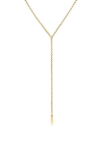 Elli Halskette Damen Erbskette Y-Kette Geo Design Rechteck in 925 Sterling Silber