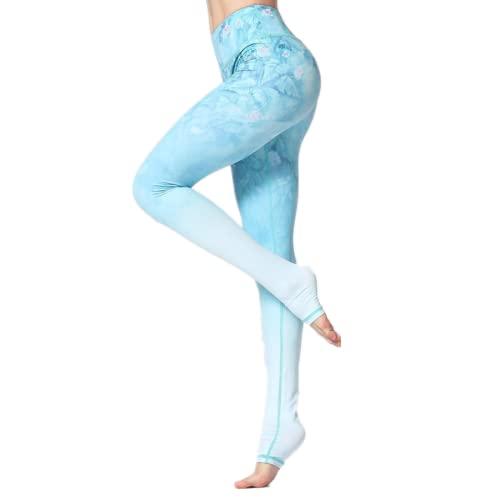 EMPERSTAR Pantalones De Yoga para Mujer Leggings De Yoga Impresos Leggings De Entrenamiento Capris De Cintura Alta para Correr Fitness Azul Claro S