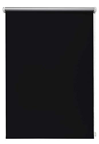 Thermo-Rollo Schwarz 90x150 cm ohne Bohren Verdunkelungsrollo Seitenzugrollo Klemmrollo Blackout Silberbeschichtung