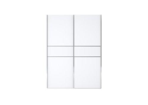 Nolte Delbrück Schwebetürenschrank'BASICnd'weiß matt,farbige Glasauflage,Schlafzimmer,Kleiderschrank, Ausführung:Glasauflage weiß;Größe:300 cm breit + 3 Türen