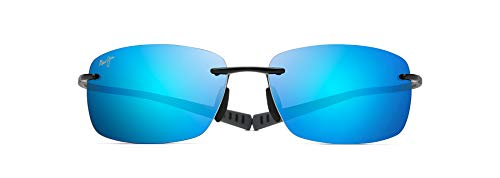Maui Jim Kumu w/ Patented PolarizedPlus2 Lenses Polarized Sport Sunglasses, Gloss Black/Blue Hawaii Polarized, Medium