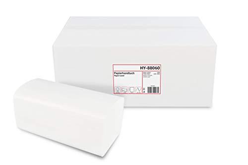 Hypafol Papierhandtücher für Spender | Recycling extra weiß | 2-lagig, 24x21 cm | 4000 Blatt verpackt in 16 x 250 Blatt | praktischer V-Falz für Handtuchspender in Toiletten, Büros, Praxen & Studios