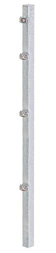 GAH-Alberts 677626 Zaunpfosten für Doppelstabmattenzaun | mit Klemmlaschenbefestigung | feuerverzinkt | Länge 1500 mm | Pfosten 60 x 40 mm