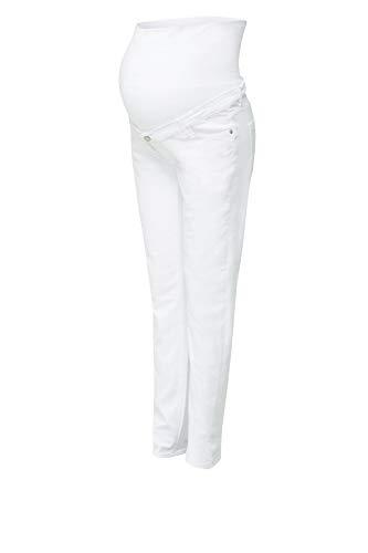 ESPRIT Maternity Damen Pants Denim OTB Slim Umstandsjeans, Weiß (White 100), W29/L32 (Herstellergröße: 36/32)