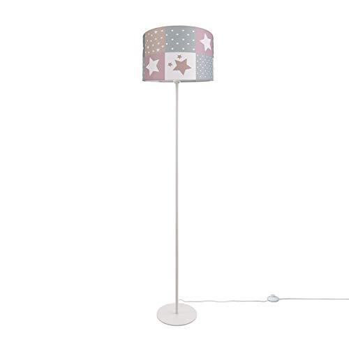 Paco Home Kinderlampe LED Stehlampe Kinderzimmer Lampe Sternen Motiv, Stehleuchte E27, Lampenfuß:Einbeinig Weiß, Lampenschirm:Pink (Ø38 cm)