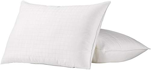 Ella Jayne Home King Size Bed Pillows- 2 Pack White Hotel Pillows- Gel Fiber Filled FIRM Gel Pillows with Hypoallergenic 100% Cotton Dobby Box Cover- Best Pillow For Side Sleepers & Back Sleepers