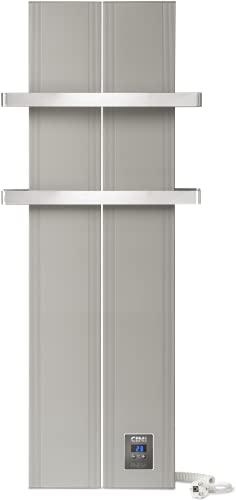Finesa-D Badheizkörper Elektrisch mit Smarte Regelung Thermostat, Handtuchwärmer Elektrisch, Handtuchtrockner Elektrisch, Wärmeabgabe 400-1200W ***** 5 Jahre GARANTIE ***** (1000 x 408, Grau-Metallic)