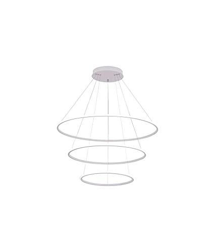 Lampadario LED a Sospensione 48W 3 Anelli Sospesi Cerchi dal Design Moderno 60x60x100 cm (Bianco Naturale)