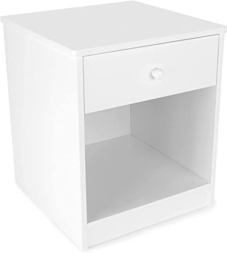 Leomark szafka nocna biała, stolik nocny z wysuwaną szufladą, nakaslik do pokoju dziecięcego i młodzieżowego, funkcjonalny mebel do sypialny, wymiary 33,5 x 40 x 34 cm