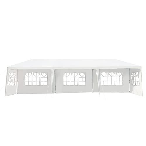 DREAMADE 3x9 m Faltbarer Gartenpavillon mit Metallstruktur, Gartenzelt mit 5 abnehmbaren Seitenwänden, Partyzelt mit Fenstern, Wasserdichtes Faltpavillon, für Party Hochzeiten Camping