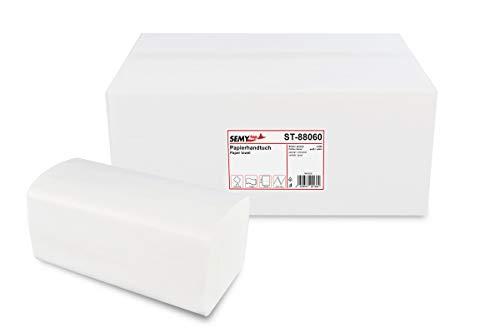 Semy Papierhandtuch, 2-lagig, ZZ/V Falz, 25x21 cm, weiß, 1er Pack (1 x 4000 Stück)