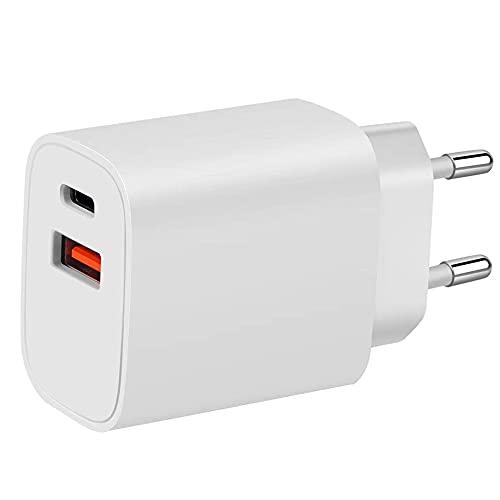 4-Ok Cargador Doble USB-C y USB Ultra Rápido 20W PD Power Delivery y 10 W Puerto USB, Total 30W. Cargador Casa 220V para Apple, Samsung, Xiaomi, Huawei.